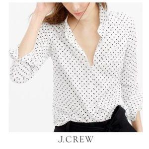 J. Crew White & Black Polkadot Perfect Shirt